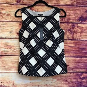 Talbots Black and White Pattern Silk Tank Top